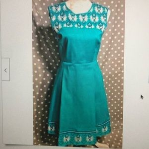 Hatley Teal Blue Embroidered Dress size 4 worn 1x